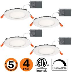 Slim Led Downlight 4 Inch 9W Dimmable (65W Equivalent) ETL Listed 650LM 5000K Junction Box Reces ...