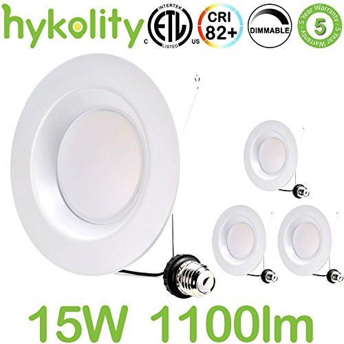 Hykolity 5/6 Inch LED Downlight Recessed Can Light Integrated Baffle Trim Design Retrofit Ceilin ...