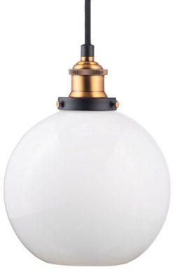 Primo Milk Glass Kitchen Pendant Light – Antique Brass Hanging Fixture – Linea di Li ...