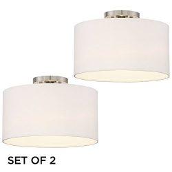 Adams White Drum Shade Ceiling Lights Set of 2