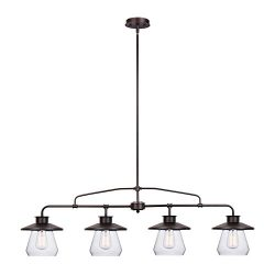 Globe Electric Angelina 4-Light Industrial Vintage Pendant, Clear Glass Shades, Oil Rubbed Bronz ...