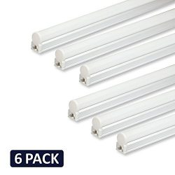 (Pack of 6) Barrina LED T5 Integrated Single Fixture, 4FT, 2200lm, 6500K (Super Bright White), 2 ...