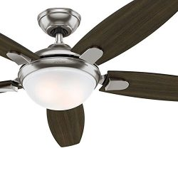 Hunter Fan 54″ Contemporary Ceiling Fan with LED Light & Remote Control, Brushed Nicke ...