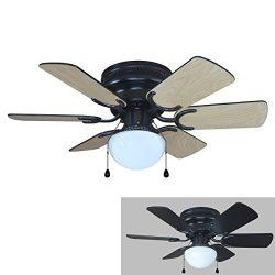 Hardware House 23-5389 Arcadia 30-Inch Black Flush Mount Ceiling Fan, Black or Light Maple Blades