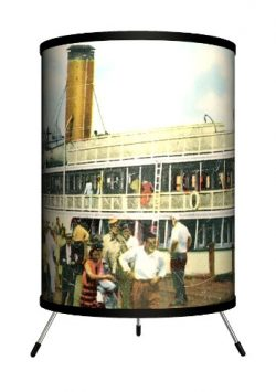 Lamp-In-A-Box TRI-TRV-NEWBI Travel New Harbor, Block Island Postcard Tripod Lamp, 8″ x 8&# ...