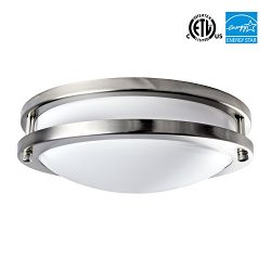 Luxrite LED Flush Mount Ceiling Light, 10 Inch, 14W, 3000K (Soft White), Dimmable, 1000 Lumens,  ...