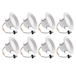 LE 8 Pack 4 Inch LED Downlight, Dimmable Recessed Lighting Fixture, 9W, 65W Incandescent Bulb Re ...