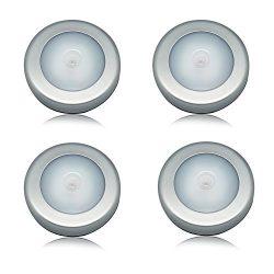 Sensor Lights JLTPH Pack of 4 Motion-Activated 6 LED Night Light/ Battery-Powered Motion Optiona ...