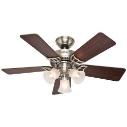 Hunter 51011 Southern Breeze 42-Inch Brushed Nickel Ceiling Fan with Five Cherry/Maple Blades an ...