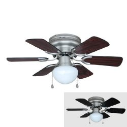 Hardware House 17-4725 Arcadia 30-Inch Satin Nickel Flush Mount Hugger Ceiling Fan, Black or Che ...