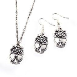 "BLOOMCHARM ""Charming U"" Owl Pendent Chain Necklace Dangle Earrings Set, Birthday Gif ..."
