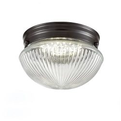 Truelite Industrial Flush Mount Ceiling Light with Glass Shade Oil Rubbed Bronze Hanging Ceiling ...