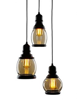 CO-Z 3-Light Cluster Chandelier Pendant, 3 Glass Jar Hanging Pendant Ceiling Lighting Fixture, A ...