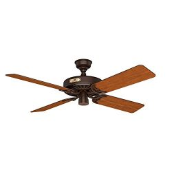 Hunter 23847 Original 52″ Chestnut Brown Ceiling Fan with Five Cherry/Walnut Reversible Blades
