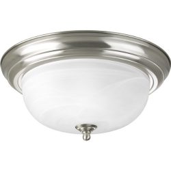 Progress Lighting P3925-09 Two Light Flush Mount, Brushed Nickel Finish with Etched Alabaster Glass