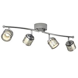 Catalina Lighting Eyerly 4-Light 30-inch Chrome Dimmable Fixed Track Light Kit, LED Bulbs Includ ...