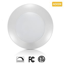SOLLA 6 Inch Dimmable LED Disk Light Flush Mount Ceiling Fixture with ETL FCC Listed, 750LM, 12W ...