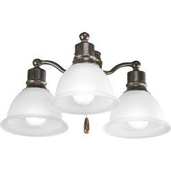 Progress Lighting P2623-20 3-Light Fan Light Kit, Antique Bronze