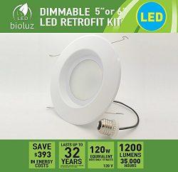 Bioluz LED 6″ BRIGHTEST RETROFIT (120 Watt Equivalent) WARM WHITE UL-listed Dimmable Retro ...