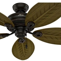 Hunter Fan 54 in. Indoor/Outdoor Ceiling Fan without Light in Onyx Bengal, 5 Palm Shaped Fan Bla ...