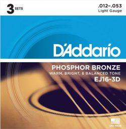 D'Addario EJ16-3D Phosphor Bronze Acoustic Guitar Strings, Light, 3 Sets