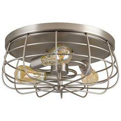 Kira Home Gage 15″ Industrial 3-Light Cage Flush Mount Ceiling Light, Brushed Nickel Finish