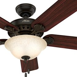 Hunter 52-inch Onyx Bengal Finish Ceiling Fan with Texture Tea Glass Light Kit (Certified Refurb ...