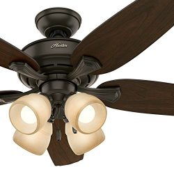 Hunter Fan 52″ LED Ceiling Fan with 4 Lights in a New Bronze Finish (Certified Refurbished)