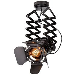 EuSolis Telescopic Loft Industrial Iron Spotlight Vintage Ceiling Lights LED Shop Light Track Li ...