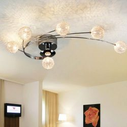 Jiuzhuo Modern Globe Shade 6-Light Semi Flush Mount Ceiling Light Fixture