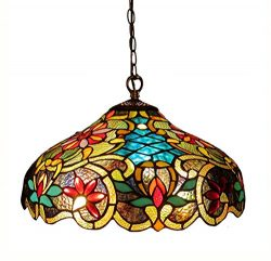 Chloe Lighting CH1A674VB18-DH2 Leslie, Tiffany-Style Victorian 2-Light Ceiling Pendant Fixture,  ...