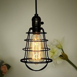 COOLWEST Mini Vintage Edison Hanging Caged Pendant Light Fixture Adjustable Black Cord For Home  ...