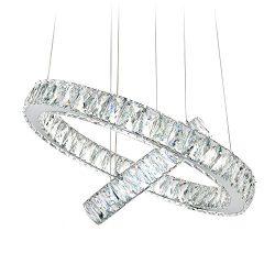 MEEROSEE Modern Crystal Chandelier Lighting Ceiling Light Fixture LED Contemporary Adjustable St ...