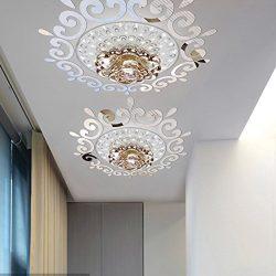 Top ceilling mirror wall sticker , top lighting the ceiling Chandelier around decorative mirror  ...