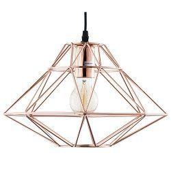 Light Society Wellington Geometric Pendant Light, Rose Gold, Modern Industrial Lighting Fixture  ...