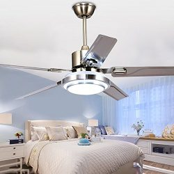 Tropicalfan Modern LED Ceiling Fan with One Acrylic Light Cover Remote Control Home Indoor Fans  ...