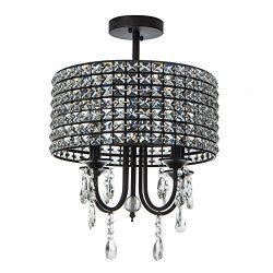Wtape 16″ 4 Lights Antique Crystal Chandelier Semi Flush Mount Ceiling Light, Black Round  ...