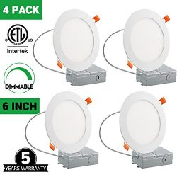 6 Inch Slim LED Downlight, Dimmable, 12W (100W Equivalent), 5000K Daylight White, 950Lm, ETL Lis ...