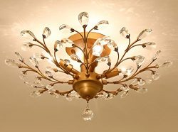 Garwarm 4-Light Vintage Crystal Chandeliers Ceiling Lights LED Light Crystal Pendant Lighting Ce ...
