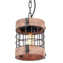 Anmytek Metal and Wood Chandelier Round Pendent Light Retro Rustic Loft Antique Lamp Edison Vint ...