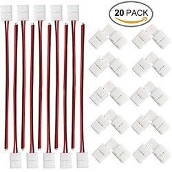 FSJEE 8mm 3528/2835 LED Strip Light Connectors Kits with 10PCS L Shape 2 Pin Right Angle Corner  ...