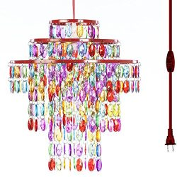 The Original Gypsy Color One Light Plugin Chandelier with Three Tiers of Hanging Crystals H14 W1 ...