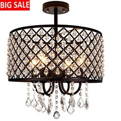 "DELICA HOME 16"" Diameter Industrial Black Metal Chandelier Ceiling Light, Drum Shade Penda ..."