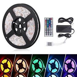 Boomile 16.4ft LED Flexible Light Strip, RGB 300 LEDs SMD 5050, LED Strip Lights, Waterproof Lig ...