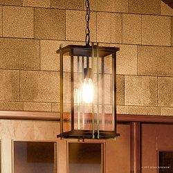 Luxury Craftsman Outdoor Pendant Light, Large Size: 20″H x 10″W, with Craftsman Styl ...