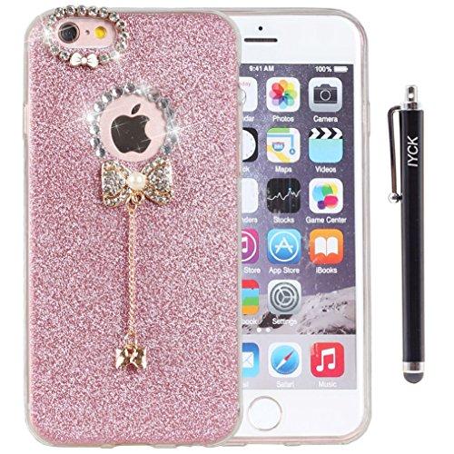 iPhone 6 Plus Case, iYCK 3D Handmade Luxury Diamond Rhinestone Hybrid Glitter Bling Shiny TPU So ...