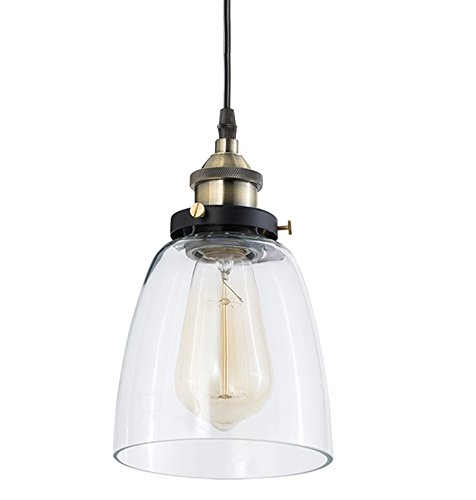 Farmhouse Antique Bronze Silver Pendant Light Fixture: Light Society Camberly Mini Pendant Light, Clear Glass