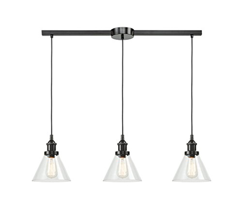 Dennis Retro Kitchen Linear Island Pendant Lighting Clear: EUL Industrial Kitchen Island Lighting Clear Glass Hanging
