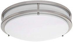 LB72123 LED Flush Mount Ceiling Light, 16-Inch, Antique Brushed Nickel, 23W (180W equivalent) 16 ...