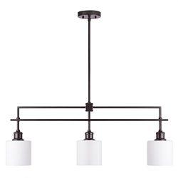 CO-Z Oil Rubbed Bronze Kitchen Island Lighting, 3-Light Linear Pendant Island Chandelier for Bil ...